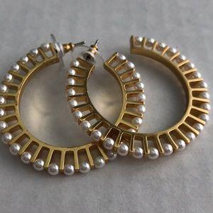 J Crew Pearl Bar Hoop Earrings